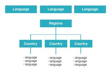 Language navigation with regional minisites