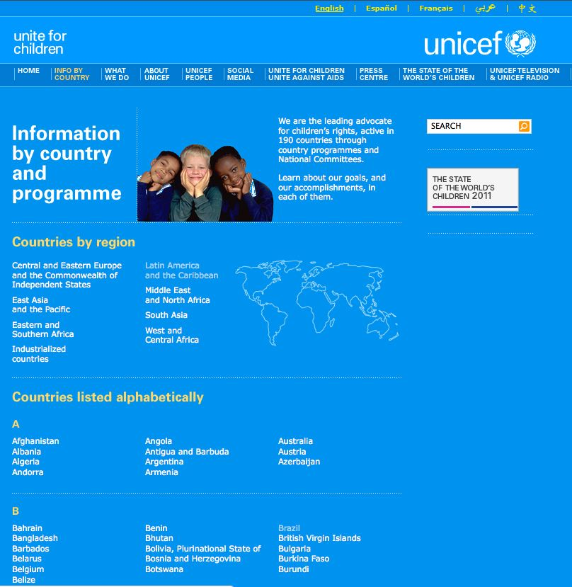 Unicef.com – Information by Country