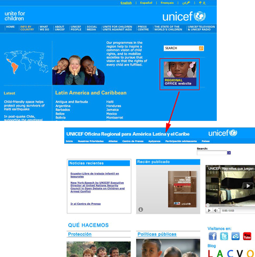 Unicef.com – Localized regional site